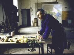 Painter Balthus Klossowsky de Rola at Work in His Studio in the Chateau Chassy (Photography by Loomis Dean)