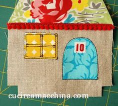 Instructions to make this cute house and other ideas for what to do with them - template pdf on computer in quilts - reg Scrap Fabric Projects, Small Sewing Projects, Sewing For Kids, Fabric Scraps, Sewing Crafts, Fabric Christmas Ornaments, House Ornaments, Kids Crafts, Diy And Crafts