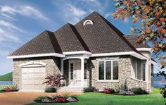 House Plan 65091 | European Plan with 1122 Sq. Ft., 2 Bedrooms, 1 Bathrooms, 1 Car Garage