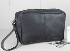 Our classic men's leather wash bag is handmade from our distressed Hunter black leather and has enough space for your all your toiletries and more - perfect for those weekends away and holidays. Leather Men, Leather Wallet, Black Leather, Leather Accessories, Travel Accessories, Wash Bags, Classic Man, Travel Gifts, Fathers Day Gifts