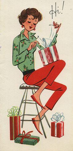 """Hi!"" Retro Chirstmas card by grickily, via Flickr"