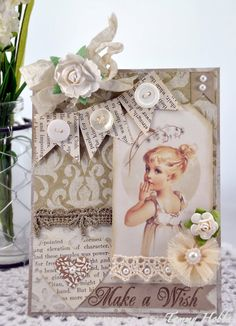 Sweet Shabby Card...with paper banner, lace, pearls, & rose.