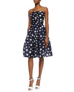 Only $3,990.00 at BGs. W05C7 Naeem Khan Strapless Star-Print Pleated Cocktail Dress