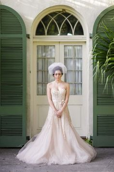 Pink Monique Lhuillier wedding dress: http://www.stylemepretty.com/louisiana-weddings/2014/10/24/romantic-watercolor-wedding-inspiration-shoot/ | Photography: Greer G - http://www.greergphotography.com/