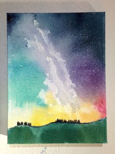 Galaxy Night Sky Painting Star Painting by ElissaSueWatercolors