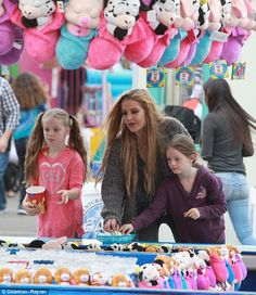 Quality time: The 49-year-old daughter of Elvis has rarely been spotted with the girls since they were put into her mother's custody as she battles her ex husbandMichael Lockwood