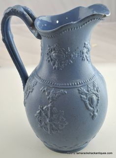 Antique Blue Relief Molded Pitcher English Pottery c1858 Ornate Flower Stamp Mugs And Jugs, English Pottery, Flower Stamp, Teapot, Beverage, Stamps, Porcelain, Blue And White, Indoor