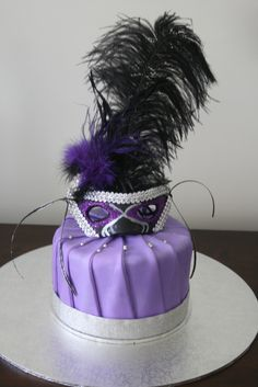 """Top of mascarade cake I made to match the cupcakes.   6"""" mud cake covered in fondant.  Mask decoration is fondant"""