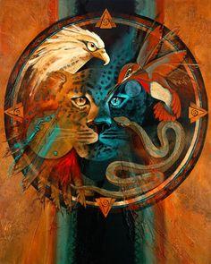 Eagle, Jaguar,Hummingbird & Snake Medicine ...By Artist Unknown...