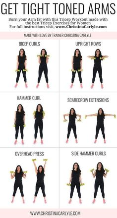 Arm workout for women & Best Arm Exercises for women that want tight toned arms. This arm workout routine was made with some of the& The post Arm Workout for Women that Want Tight Toned Arms appeared first on Griffith Diet and Fitness. Musa Fitness, Body Fitness, Workout Fitness, Fat Workout, Fitness Watch, Barre Arm Workout, Easy Arm Workout, Free Weight Arm Workout, Girl Arm Workout