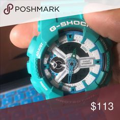 Aqua G-Shock This is an aqua and white g-shock watch. It is a one size fits all. It was worn a handful of times but is still as good as new. If you have any questions please feel free to comment below. Also I have a 15% off bundle of 2 or more items! G-Shock Accessories Watches