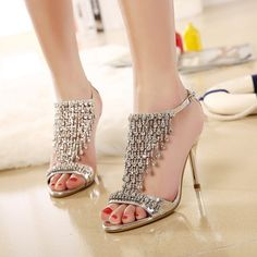 Women's Style Sandal Shoes Champagne Evening Shoes T Strap Sandals Rhinestone Prom Shoes for Party Summer Bucket List Ideas Elegant Wedding Dresses Shoes Chic Fashion Prom Shoes Spring Outfits Women, Dancing Club, Music Festival, Ball   FSJ