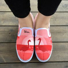 Wen Original Design Custom Hand Painted Shoes Flamingos In The Sunset Slip on Canvas Sneakers for Women Girls Birthday Presents