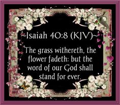 Isaiah 40:8  (KJV)   The grass withereth, the flower fadeth: but the word of our God shall stand for ever.