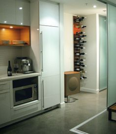 Wine storage for urban condo living - STACT Modular Wine Wall - modern - Kitchen - Vancouver - STACT Wine Displays Inc. Wine Rack Wall, Wine Wall, Wine Bottle Storage, Wine Display, Condo Living, Living Room, Minimalist Apartment, Wine Cellar, Tall Cabinet Storage