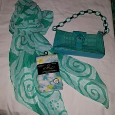 3pc accessory set Scarf has no brand/minicci grn an yellow tye dye ,footless tights an adrienne vittadini teal purse other Accessories