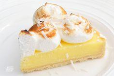 Oh So Tart Lemon Tart. Crust: butter, powdered sugar, coconut, flour, egg. Homemade lemon custard. Meringue topping. Imperial Sugar