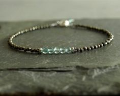 Apatite Pyrite Bracelet, sterling, small beaded bracelet, raw natural pyrite, turquoise blue apatite, genuine gemstones, minimalist bracelet