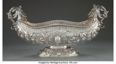 A contintental silver centrepiece bowl. Maker unknown, possibly Italy, circa Marks: Vintage Silver, Antique Silver, Silver Centerpiece, Silver Trays, Silver Work, A Table, Silver Jewelry, Auction, Sterling Silver
