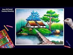 Beautiful Scenery Drawing-Art with Oil Pastels-Step by Step Oil Pastel Drawings Easy, Oil Pastel Paintings, Oil Pastel Art, Beautiful Scenery Drawing, Easy Scenery Drawing, Landscape Drawings, Watercolor Landscape, Landscape Paintings, Nature Drawing