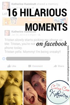 """""""Your not a real millennial mom until you've selfied a tooth right out of your kid!""""  And other hilarious moments with my kids that have been immortalized on Facebook.   -The Curious Case of Katherine"""