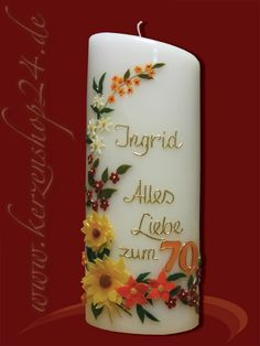Geburtstagskerze G-1196 Diy Candles, Pillar Candles, Beautiful Candles, Candle Making, Quilling, Sewing Crafts, Christmas Crafts, Projects To Try, How To Make