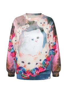 Amazing Long Sleeve Cat with Rose Pattern 3D Painted Hoodie - beddinginn.com