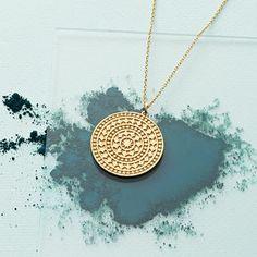 Gold Vermeil Aztec Coin Pendant - jewellery for women