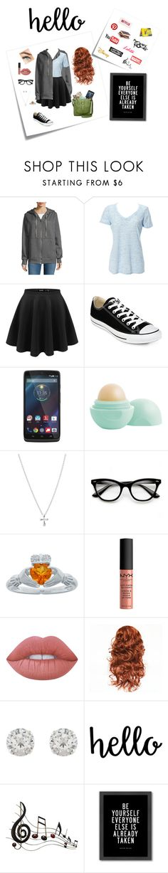 """""""This Is Me"""" by trin101915 ❤ liked on Polyvore featuring Post-It, Necessary Objects, Simplex Apparel, Converse, Motorola, Eos, ZeroUV, NYX, Lime Crime and Accessorize"""