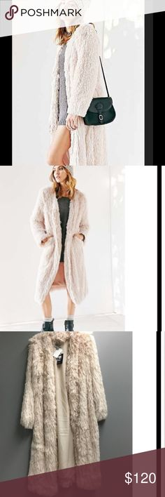 NWT!🎄Urban Outfitters Ecote faux fur coat🎄 New Ecote Urban Oufitters Faux Furry Duster, long coat.❄️Color cream/chamois.❄️Size M/L. Funky & stylish long trench coat style coat. ❄️ Urban Outfitters Jackets & Coats Trench Coats