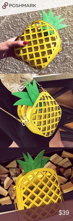 "Love Your Pineapples Handbag satin lining, adorably vibrant pineapple pattern, zipper closure, soft faux leather ( vegan friendly), several pockets on the inside  ✈️in stock items purchased today ship tomorrow (except Sunday's & Holidays)  (optional) RESERVE NOW any out of stock items by purchasing ""arriving"" options & it will automatically ship when it is restocked Bags"