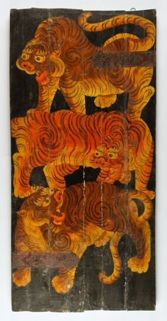 Old Tibetan painted tiger door
