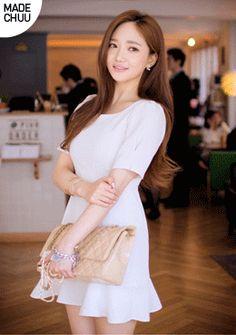 I know you wanna kiss me. Thank you for visiting CHUU. Kiss Me, Asian Beauty, White Dress, Korean, Dresses, Fashion, Vestidos, Moda, Korean Language