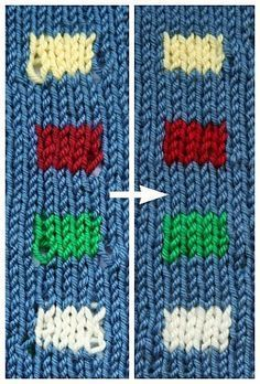 A Great Technique for Neater Color Changes Knitting with different colors, whether stripes, stranded knitting or intarsia, is a lot of fun and a great way to bring personality to your knitting projects. But it can be difficult to make your … Knitting Help, Knitting Stiches, Loom Knitting, Knitting Needles, Crochet Stitches, Hand Knitting, Intarsia Knitting, Knitting Buttonholes, Beginner Knitting