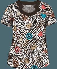 UA Peace Love Zebra Espresso Notch Neck Print Scrub Top