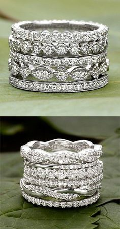 Love these dazzling, diamond wedding bands.