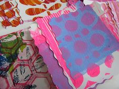 """Dahlia Flower Wreath with Gelli® Prints -- Now, cut the nine prints in fourths. Here is where my paper cutter was a nice bonus because it made this step go really quick, but if you don't have one of those, then just measure and cut using a ruler and scissors. The measurement of each section should now be 4.25"""" x 5.5"""" and there should be thirty-six rectangular prints."""