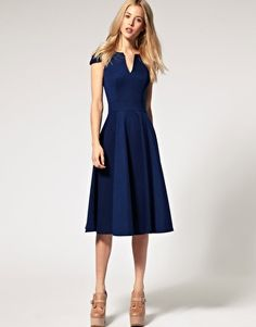 I have a feeling midi dresses like this will dominate my workplace wardrobe -- whatever it is that I'll work as. // ASOS Fit and Flare Midi Dress with V Neck