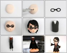 Turorial : How to make Harry Potter, Severus Snape, Ron Weasley et Draco Malfoy in polymer clay / Tutoriel : Réaliser Harry Potter, Severus Rogue, Ron Weasley et Drago Malefoy en pâte polymère source : blog.sina.com/7man