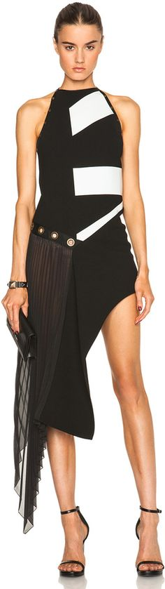 Anthony Vaccarello Asymmetric Pleated Dress