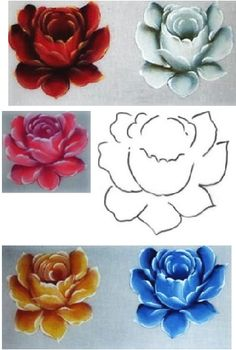 . China Painting, Tole Painting, Fabric Painting, Painting & Drawing, Hand Painted Dress, Jar Art, One Stroke Painting, Flower Tutorial, Painting Inspiration