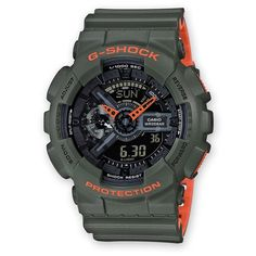CASIO G-Shock GA-110LN-3A Orologio da Uomo Analogico-Digitale Time Layered Neon Color #casio #gshock #digital #analog #wristwatch #military #men