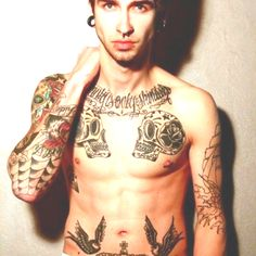 Awesome tattoos, oh and a handsome guy