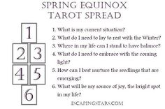 Here is a Spring Equinox tarot spread for you all! Tag #escapingstars and show me your reading! #tarotreading #tarot #sacredpause #springequinox #tarotspread