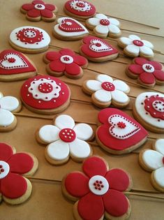 Red and White. Hearts, Flowers, and Circles
