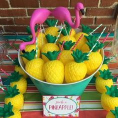 Fun drinks at a pineapples and pink flamingo birthday party! See more party ideas at CatchMyParty.com!