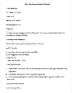 Sample Sales Resume Template  Write Your Resume Much Easier With