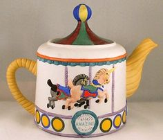 SOLD DECORATIVE COLLECTOR/CHILD TEAPOT CHRISTOPHER WREN CIRCUS CAROUSEL HAND PAINTED