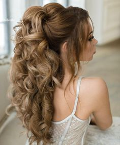 #bridal hair half up inspiration | romantic | curly waves elegant | ponytail | clip | styles | hair extensions | 2017
