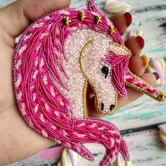 Marshmallow unicorn with stars, bright pink . - Marshmallow unicorn with stars, bright pink mane, striped soft braids of chenille – in general, e - Bead Embroidery Jewelry, Beaded Embroidery, Embroidery Stitches, Embroidery Patterns, Hand Embroidery, Beaded Jewelry, Brooches Handmade, Handmade Jewelry, Beaded Animals